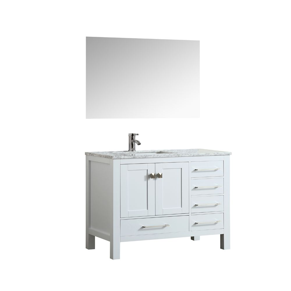 Eviva London 38 In. Transitional White Bathroom Vanity With White Carrara Marble Countertop