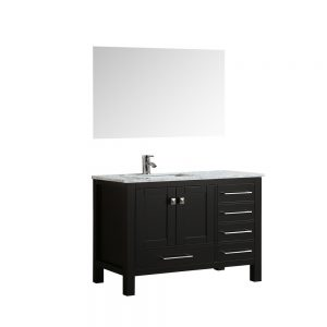 Eviva London 42 In. Transitional Espresso Bathroom Vanity With White Carrara Marble Countertop