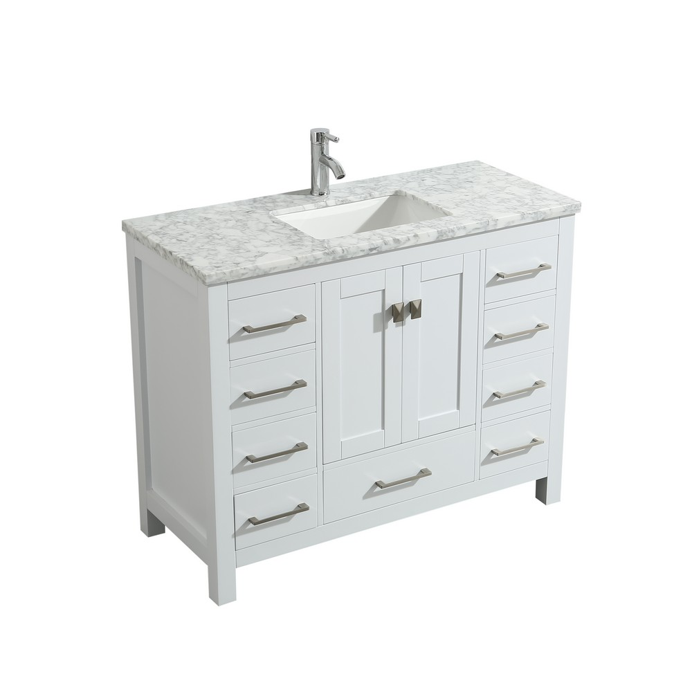Eviva London 42 In. Transitional White Bathroom Vanity With White Carrara Marble Countertop