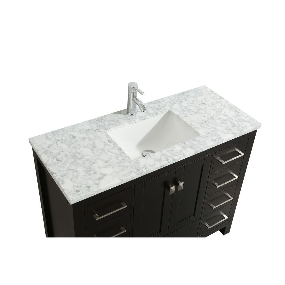 Eviva London 48 In. Transitional Espresso Bathroom Vanity with White Carrara Marble Countertop