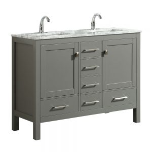 Eviva London 48 In. Transitional Gray Double Bathroom Vanity with White Carrara Marble Countertop