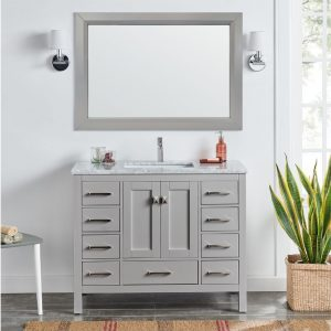 Eviva London 48 In. Transitional Gray Bathroom Vanity With White Carrara Marble Countertop