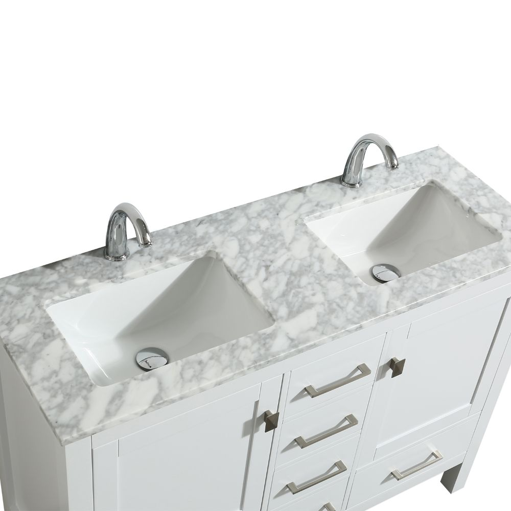 Eviva London 48 In. Transitional White Double Bathroom Vanity with White Carrara Marble Countertop