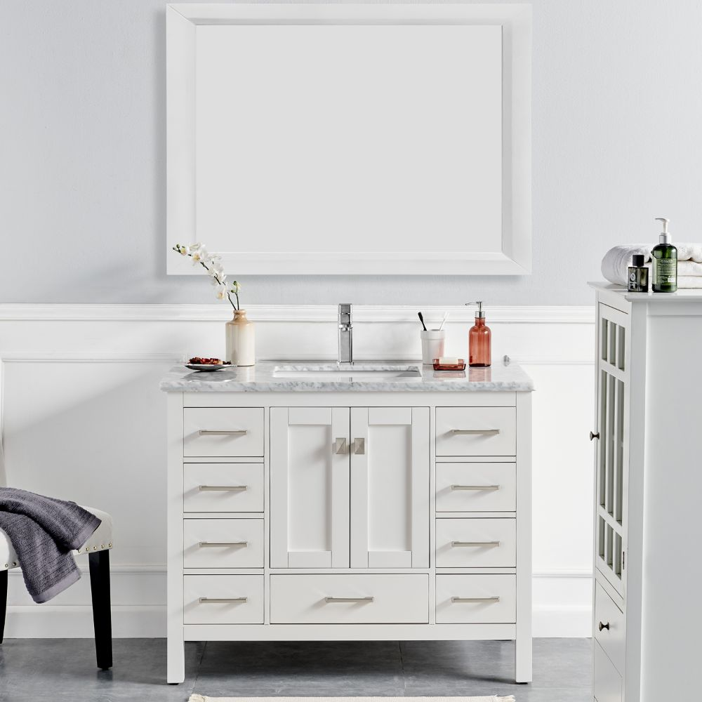 Eviva London 48 In. Transitional White Bathroom Vanity With White Carrara Marble Countertop