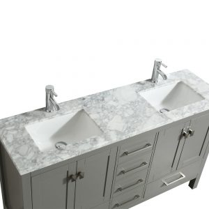 Eviva London 60 inch Transitional Gray Bathroom Vanity With White Carrara Marble Countertop