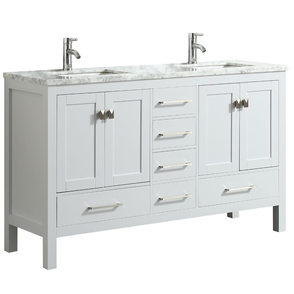 Eviva London 60 inch Transitional White Bathroom Vanity With White Carrara Marble Countertop