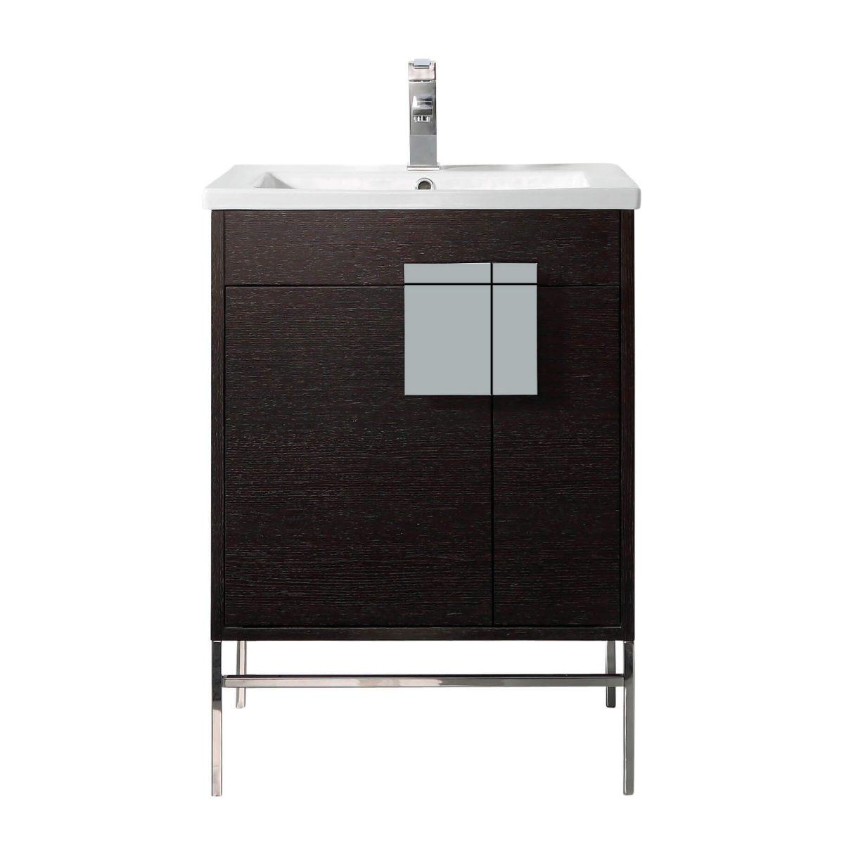 "Shawbridge 24"" Modern Bathroom Vanity  Black Oak Straight Grain with Polished Chrome Hardware"