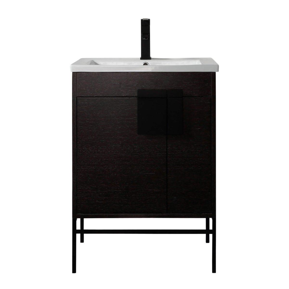"Shawbridge 24"" Modern Bathroom Vanity  Black Oak Straight Grain with Black Hardware"
