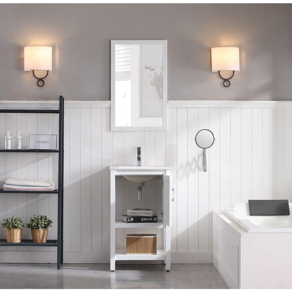 "Lucca Modern 20"" Bathroom Vanity Set with Mirror Matte White"