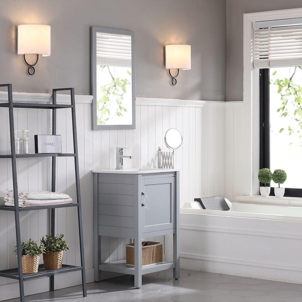"Lucca Modern 20"" Bathroom Vanity Set with Mirror Metal Gray"