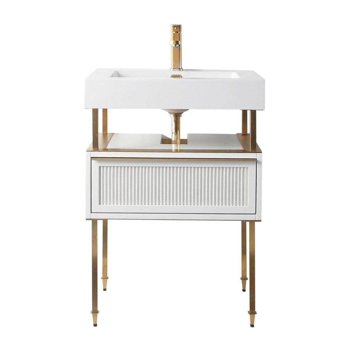 "Dakota 24"" Modern Bathroom Vanity  White with Satin Bras Hardware"