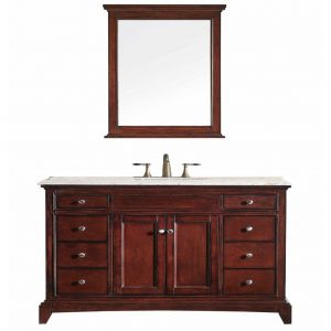 Eviva Elite Stamford 48 In. Brown Solid Wood Bathroom Vanity Set With White Marble Top and White Undermount Porcelain Sink