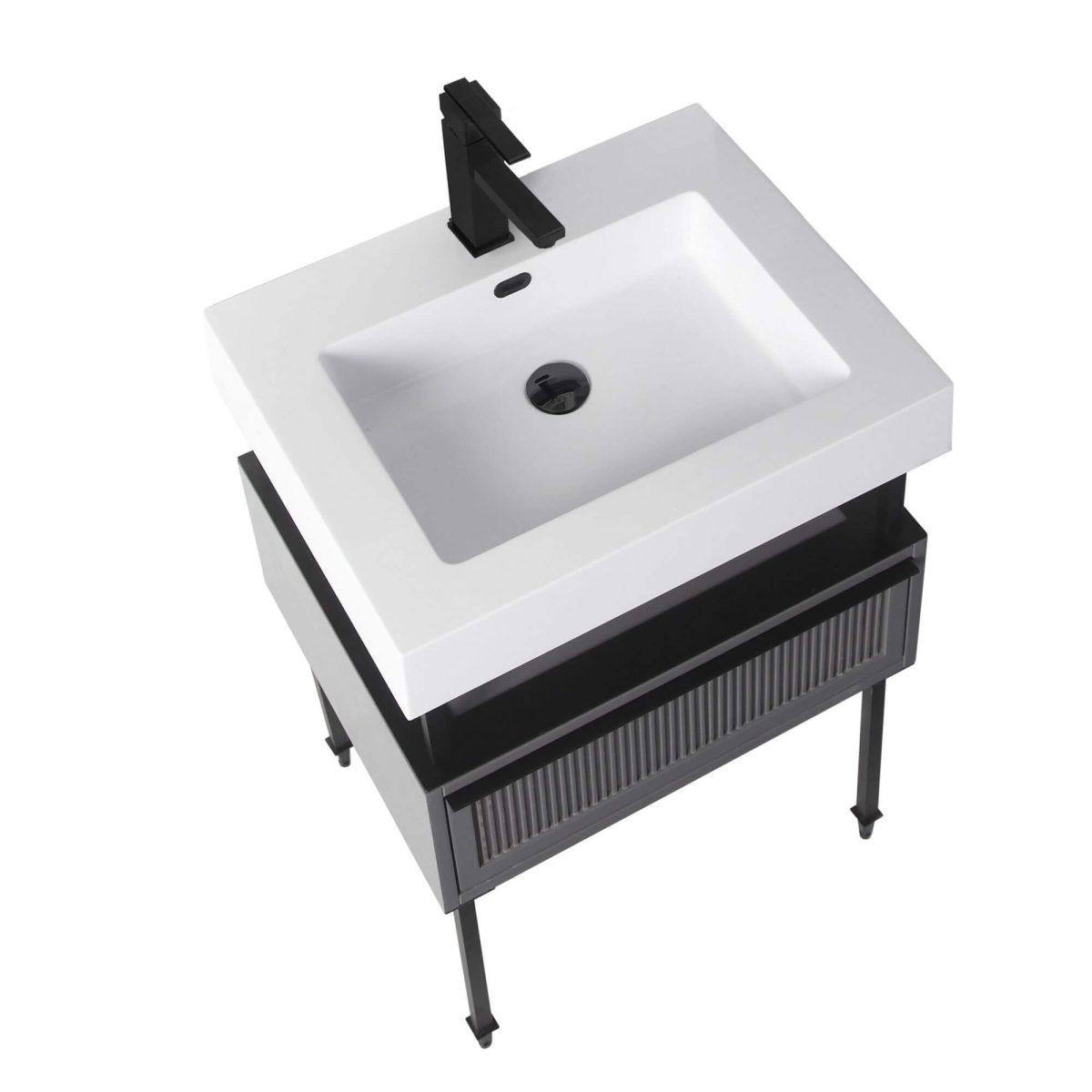 "Dakota 24"" Modern Bathroom Vanity  Rock Gray with Black Hardware"