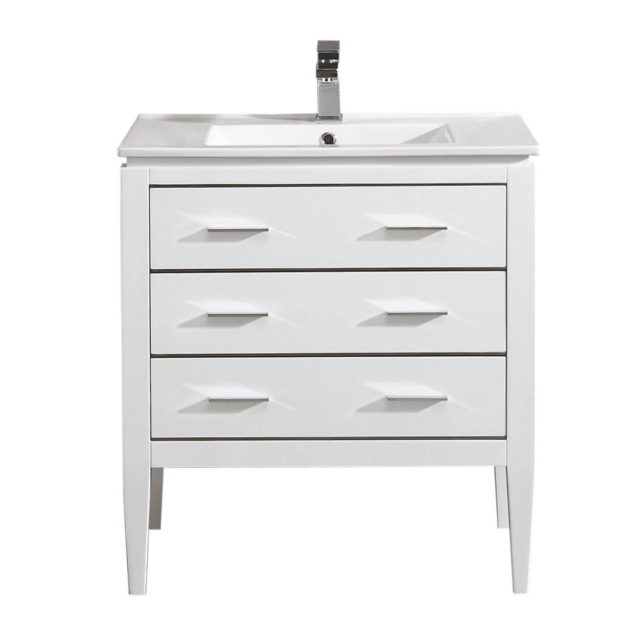 "Ironwood 30"" Modern Bathroom Vanity  White"