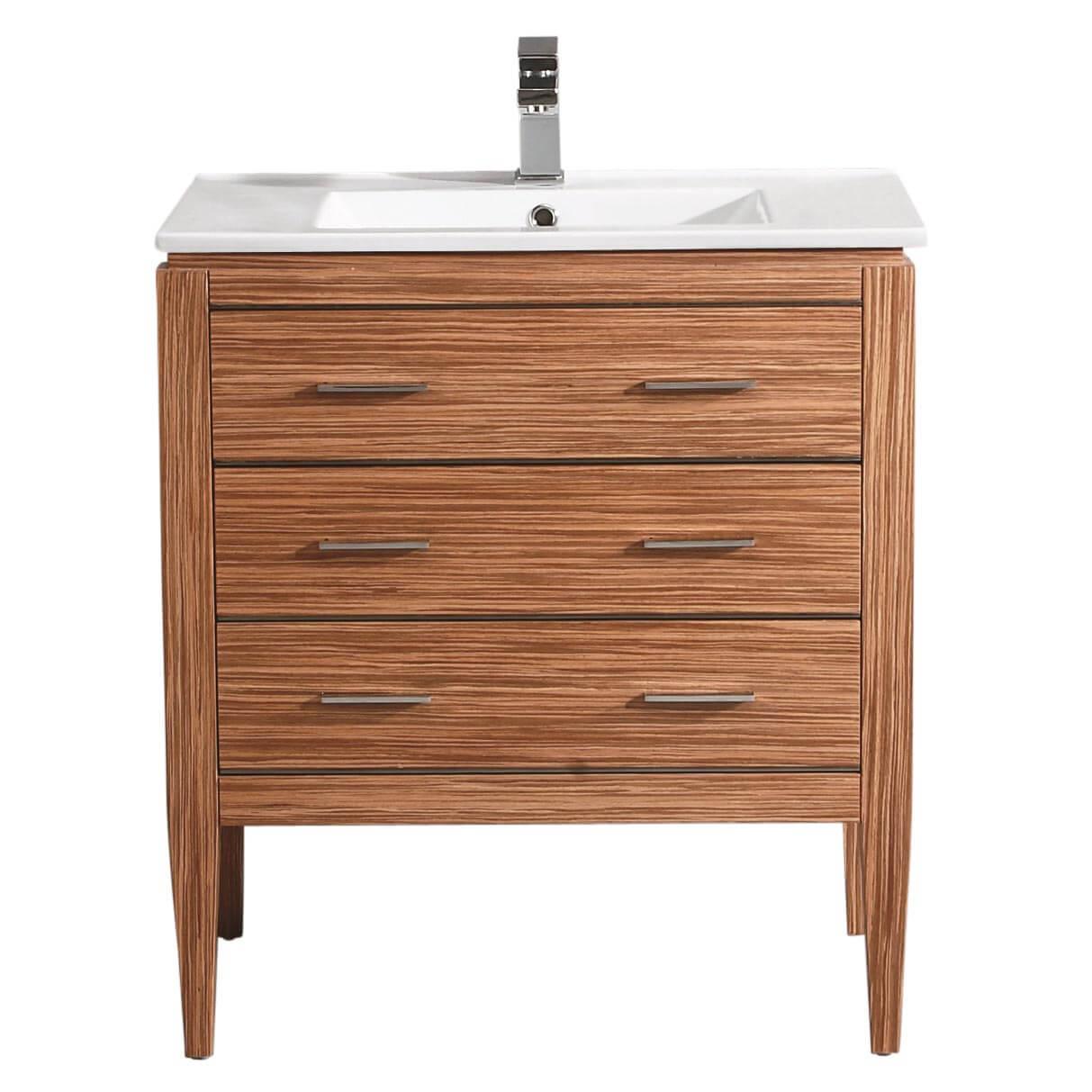 "Ironwood 30"" Modern Bathroom Vanity  Red Zebra"