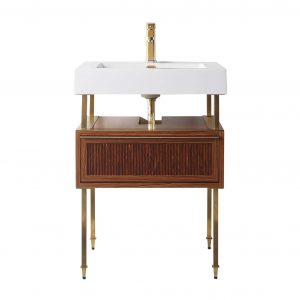 """Dakota 24"""" Modern Bathroom Vanity  Teak Brown with Satin Bras Hardware"""