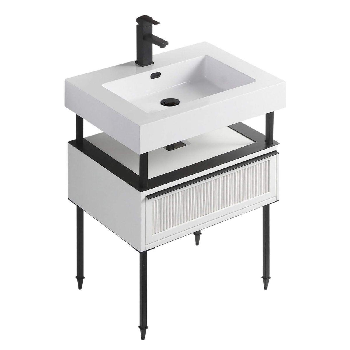 "Dakota 24"" Modern Bathroom Vanity  White with Black Hardware"