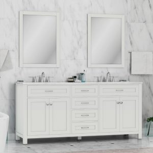 Alya Bath Norwalk 72 Inch Double Bathroom Vanity With Marble Top White