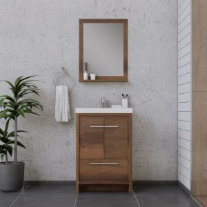 Alya Bath Sortino 24 Inch  Bathroom Vanity, Rosewood