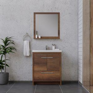 Alya Bath Sortino 30 Inch  Bathroom Vanity, Rosewood