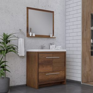 Alya Bath Sortino 36 Inch  Bathroom Vanity, Rosewood