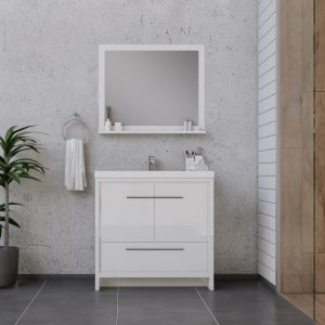 Alya Bath Sortino 36 Inch  Bathroom Vanity, White