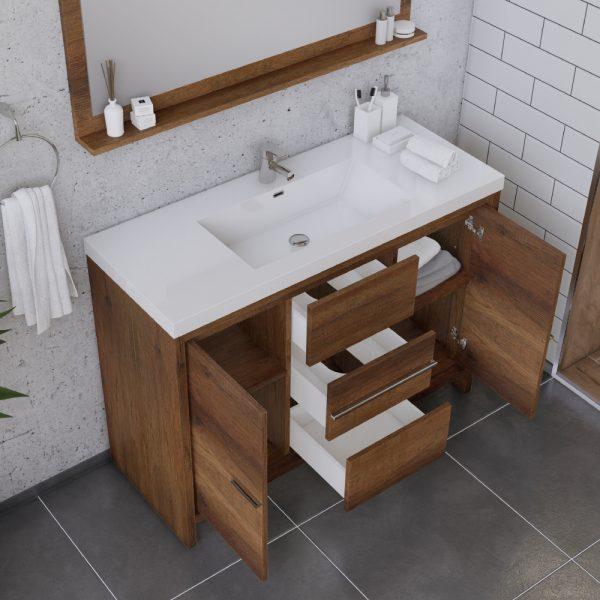 Alya Bath Sortino 48 Inch  Bathroom Vanity, Rosewood