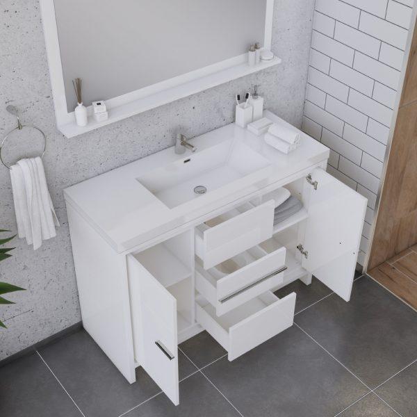 Alya Bath Sortino 48 Inch  Bathroom Vanity, White