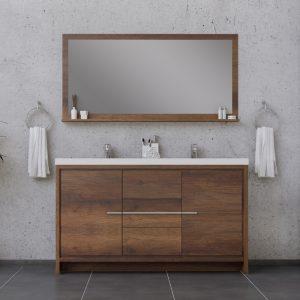 Alya Bath Sortino 60 Inch Double  Bathroom Vanity, Rosewood