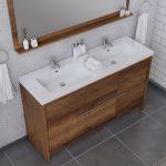Alya Bath Sortino 60 Inch Double  Bathroom Vanity, Rosewood 3