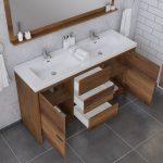 Alya Bath Sortino 60 Inch Double  Bathroom Vanity, Rosewood 5