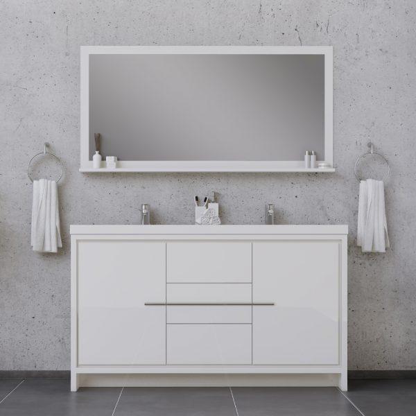 Alya Bath Sortino 60 Inch Double  Bathroom Vanity, White
