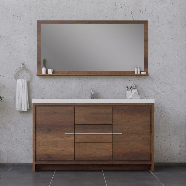 Alya Bath Sortino 60 Inch Single Bathroom Vanity, Rosewood