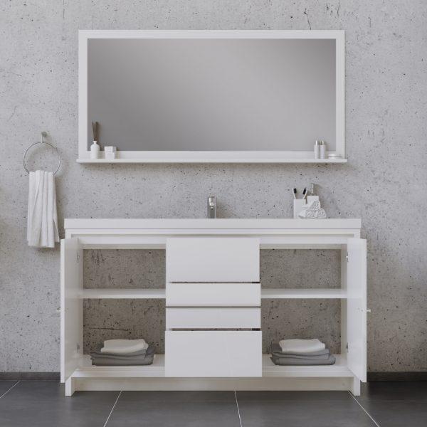Alya Bath Sortino 60 Inch Single Bathroom Vanity, White