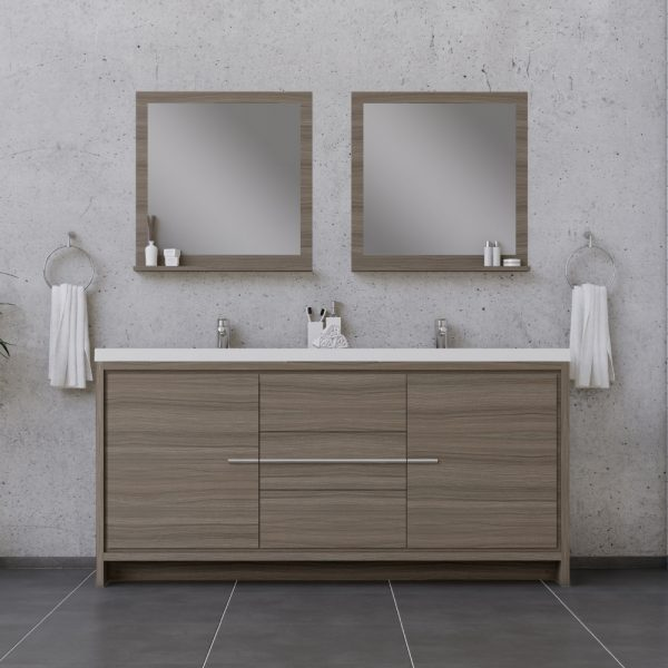 Alya Bath Sortino 72 Inch Double Modern Bathroom Vanity Gray
