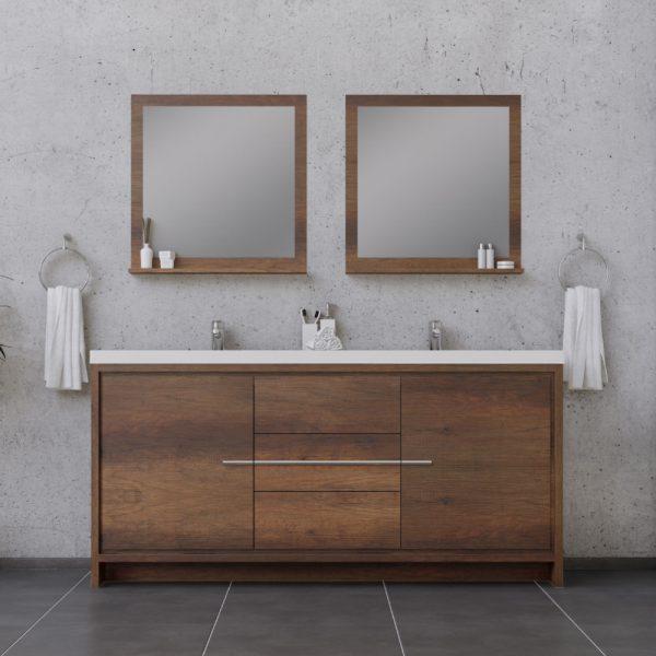 Alya Bath Sortino 72 Inch Double  Bathroom Vanity, Rosewood