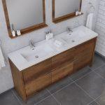 Alya Bath Sortino 72 Inch Double  Bathroom Vanity, Rosewood 2