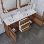 Alya Bath Sortino 72 Inch Double  Bathroom Vanity, Rosewood 5