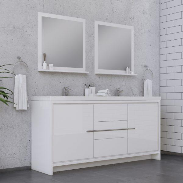 Alya Bath Sortino 72 Inch Double  Bathroom Vanity, White