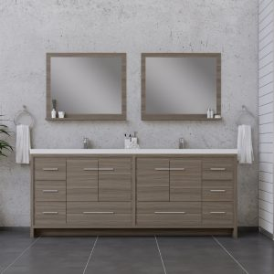 Alya Bath Sortino 84 Inch Double Bathroom Vanity Gray