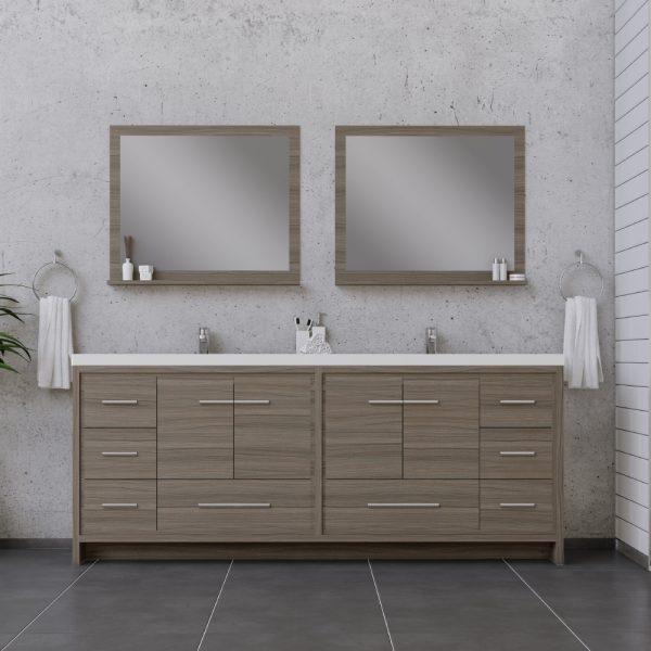 Alya Bath Sortino 84 Inch Double Bathroom Vanity Gray