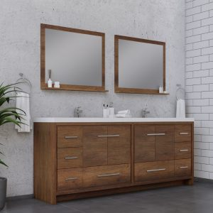 Alya Bath Sortino 84 Inch Double Bathroom Vanity, Rosewood