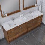 Alya Bath Sortino 84 Inch Double Bathroom Vanity, Rosewood 3