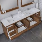 Alya Bath Sortino 84 Inch Double Bathroom Vanity, Rosewood 5