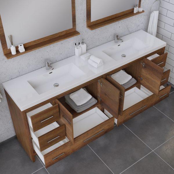 Alya Bath Sortino 84 Inch Double Bathroom Vanity, Rosewood