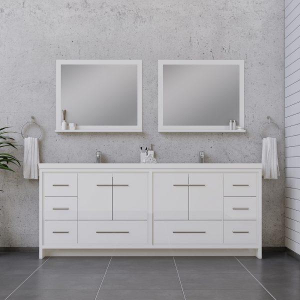 Alya Bath Sortino 84 Inch Double  Bathroom Vanity, White