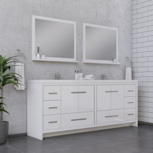 Alya Bath Sortino 84 Inch Double  Bathroom Vanity, White