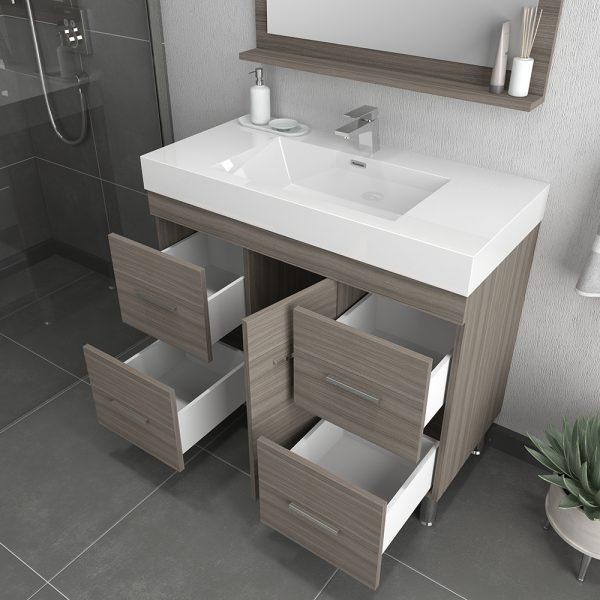 Alya Bath Ripley 39 inch Modern Bathroom Vanity, Gray