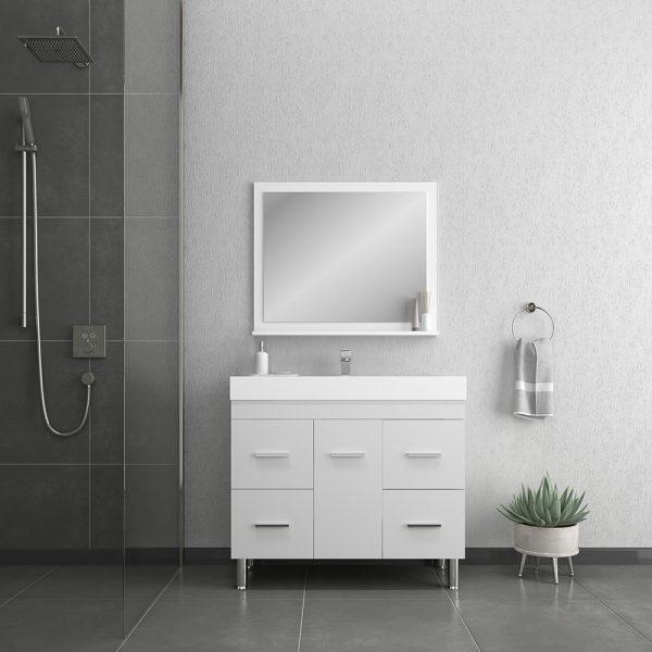 Alya Bath Ripley 39 inch Modern Bathroom Vanity, White