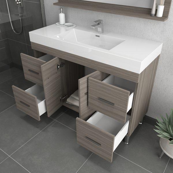 Alya Bath Ripley 48 inch Modern Bathroom Vanity, Gray